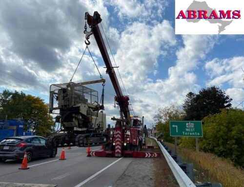 Heavy Tow Team Lifts Drilling Rig Near the 401