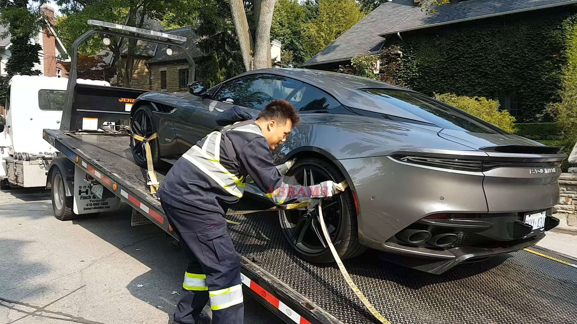 Securing the Aston Martin DBS using tow straps