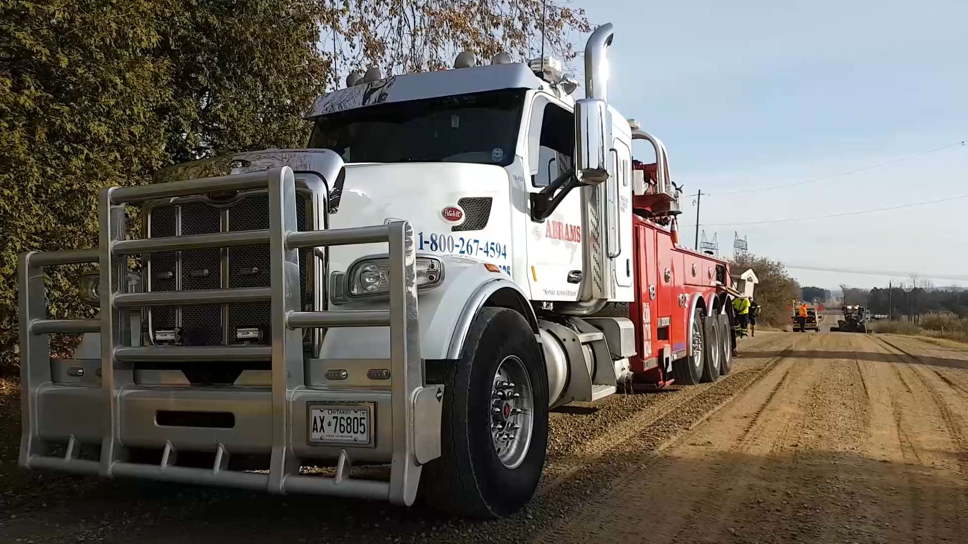 Trailer winching done by a rotator
