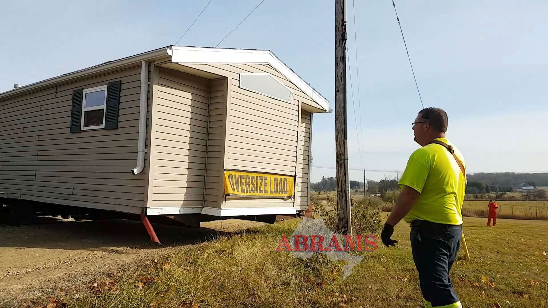 Trailer gets very close to the hydro pole