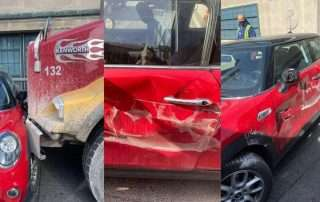 Photos of the Mini Cooper posted to Instagram following the incident show damage to the car. (@courtenayerhardt/Instagram)